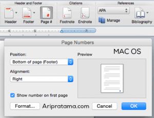 letak page number pada mac os