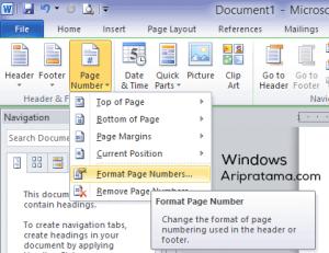 letak page number pada windows