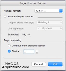 page number dengan angka mac os
