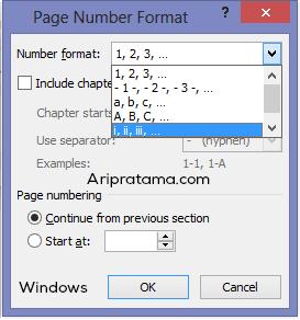 page number angka romawi windows