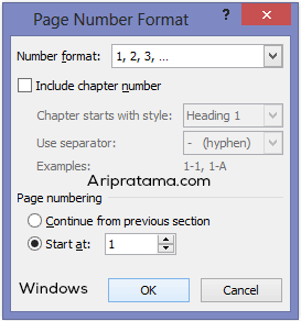 page number dengan angka windows